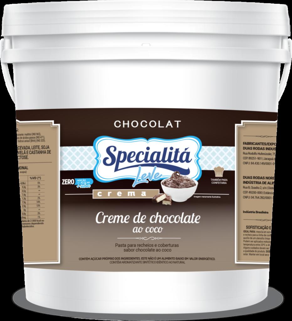 Pasta Chocolat Creme de Chocolate ao Coco Zero Adição de Açúcar