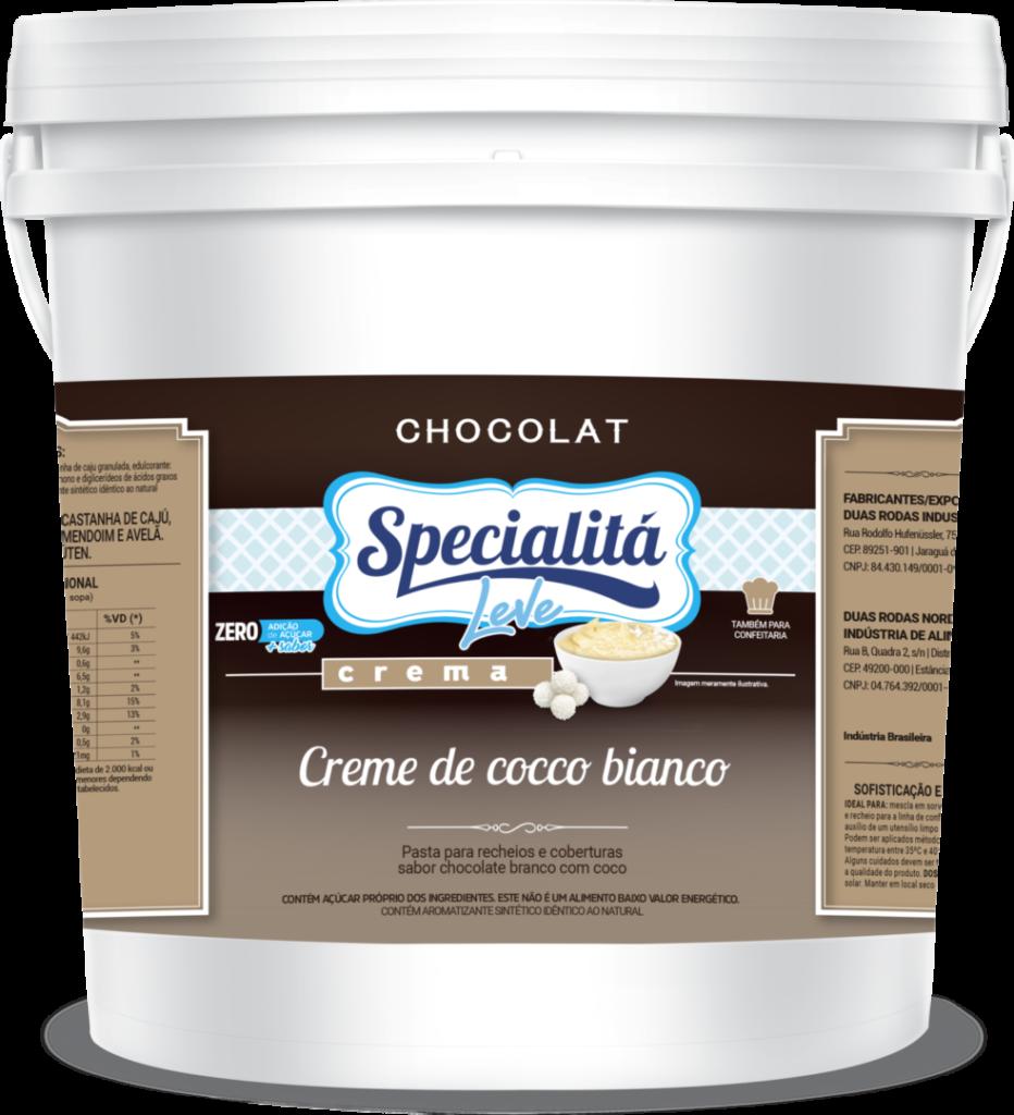 Pasta Chocolat Creme de Cocco Bianco Zero Adição de Açúcar