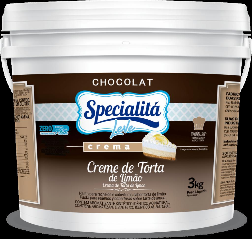 Pasta Chocolat Creme de Torta de Limão Zero Adição de Açúcar